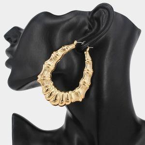 Gold Doorknocker Bamboo Hoop Earrings Jewelry 2.75